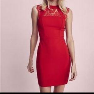 Express Red Sleeveless Lace Back Dress